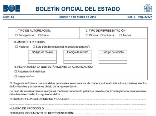 boletín y autorización de despacho de aduanas