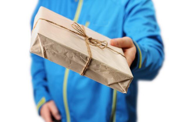 Cartero entrega paquete